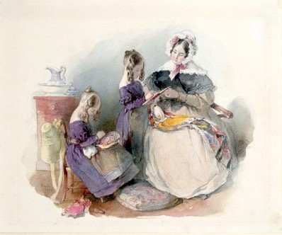The Princess Elise And Fanny Liechtenstein With Their Governess Mlle Verneille