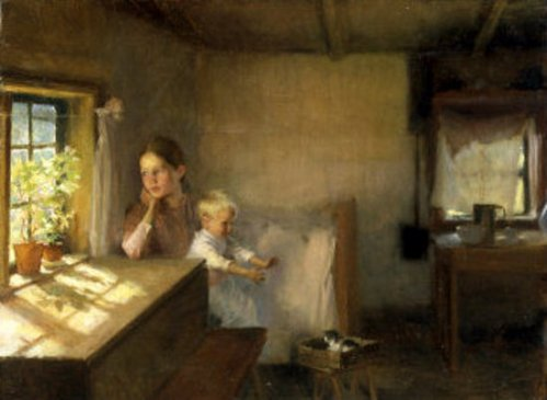 A Woman And Child In A Sunlit Interior