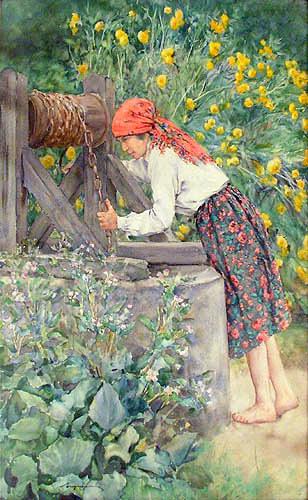 Dziewczyna przy studni