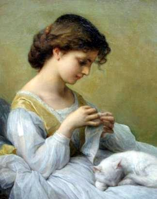 girl in white dress with cat?w324&amph410&amph410 - cute paintings....