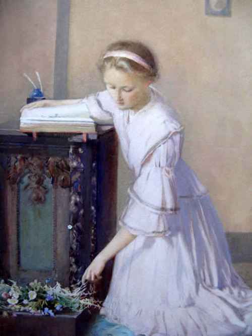 Young Woman Pressing Flowers Into a Collecting Book