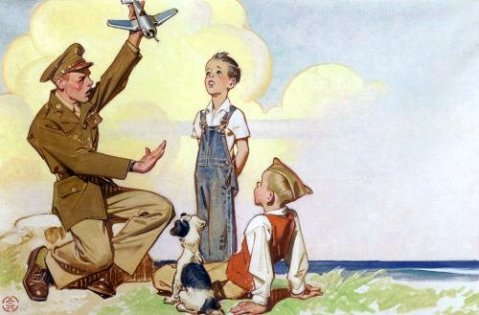 Aviator With Two Boys