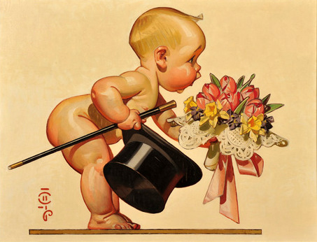 Baby Holding A Top Hat And A Bouquet Of Flowers