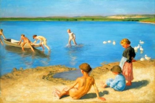 Bathing Children On The Banks Of Lake Balaton