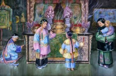 Chinese Figures In A Temple