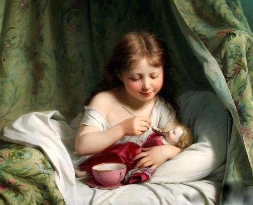 Girl Feeding Her Doll