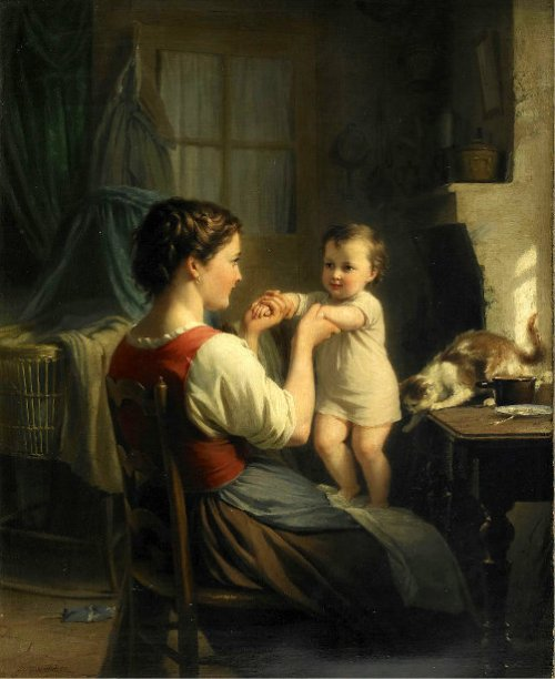 Mother And Child With Cat