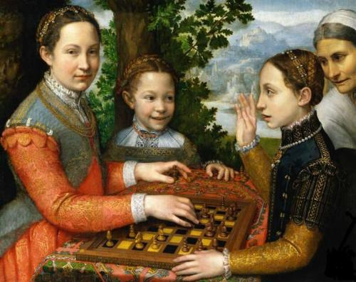 Lucia, Minerva and Europa Anguissola Playing Chess