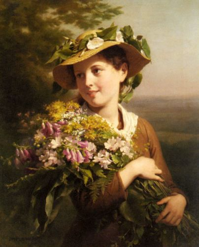 small_A Young Beauty Holding A Bouquet Of Flowers
