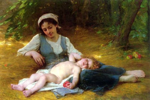 Young Mother And Sleeping Child (jeune mere et enfant endormie)