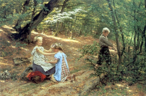 Children In The Forest (A Crown Of Woodland Flowers)