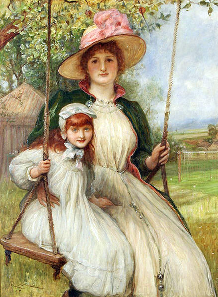 Mother And Daughter On A Swing (Happy Times)