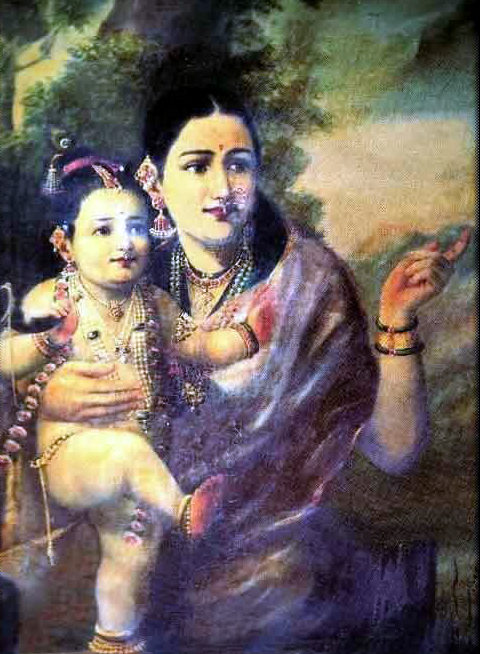 Sri Krishna As A Young Child With Foster Mother Yesoda