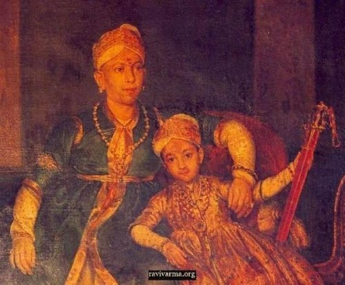 Swathi Thirunal Rama Varma of Travancore with a prince