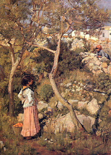 Two Little Italian Girls By A Village