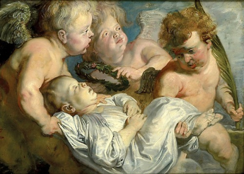 A Dead Child Carried To Heaven By Angels