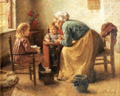 Interior With A Woman And Her Children