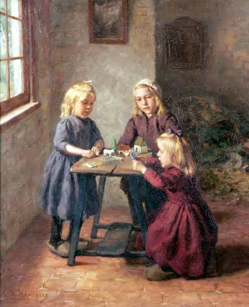 Three Children Playing With A Toy Farm