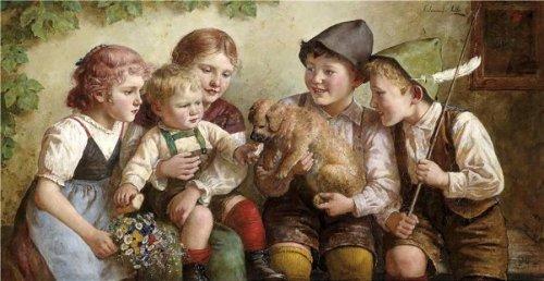 Children Feeding A Puppy