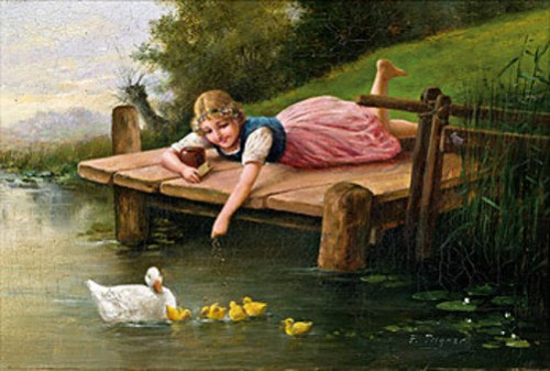 Girl Feeding Ducks At The Pond