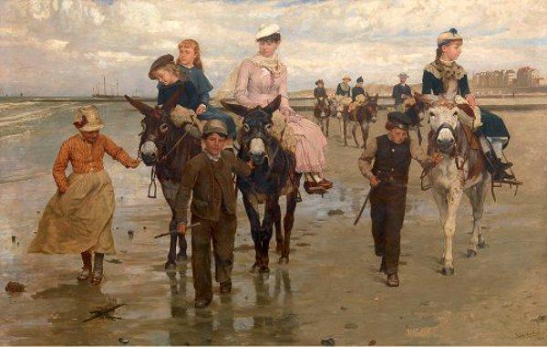 JAN VERHAS ( 1834-1896) Jan-verhas-donkey-rides-on-heist-beach