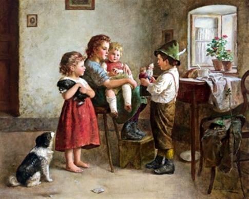 EDMUND ADLER (1876-1965) Kleine-kasperlvorfuhrung
