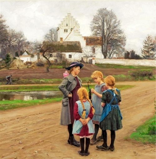 Four Girls Chatting In Front Of The Village Church