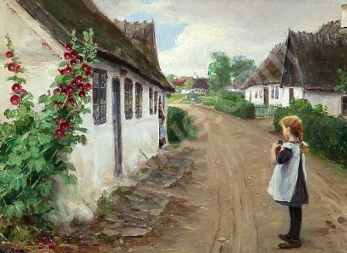 Summer Idyll In A Village With A Girl On The Road