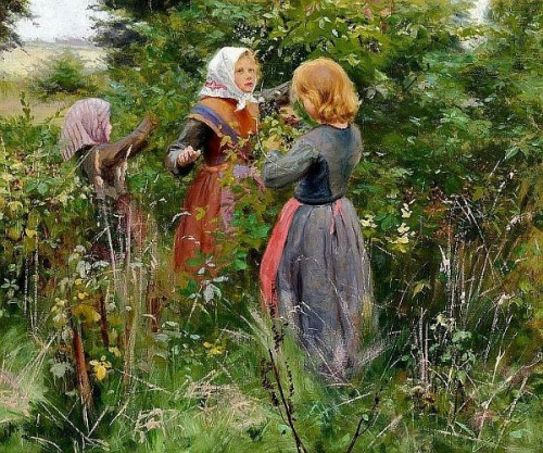 Three little girls picking blackberries