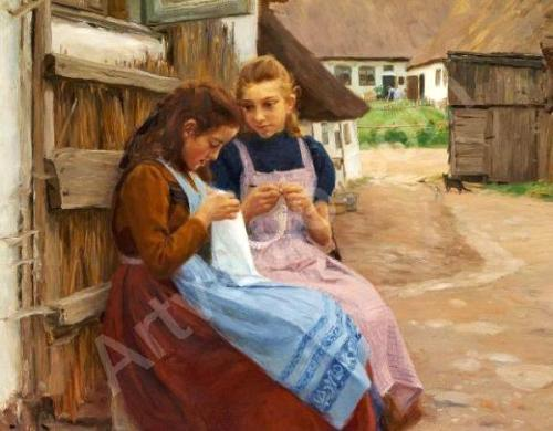 Two Girls With Needlework Sitting In The Courtyard