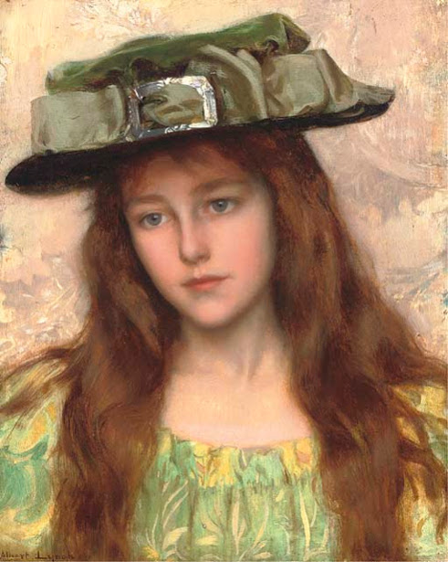 Albert Lynch - A Young Beauty in a Green Hat