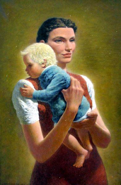 naked girl holding boy