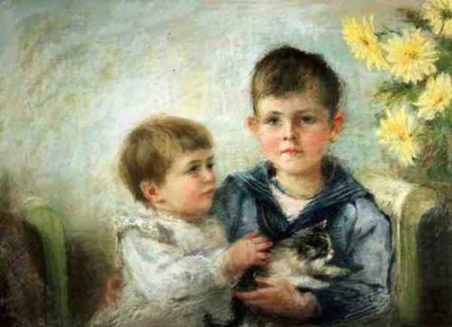 A Boy And Girl With A Kitten