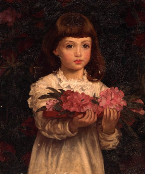 A Young Girl Collecting Rhododendron Flowers