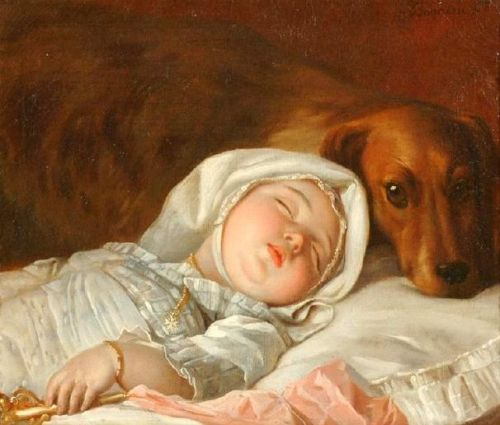small sleeping child guarded by a dog?w500 - Soooo Cute Paintings
