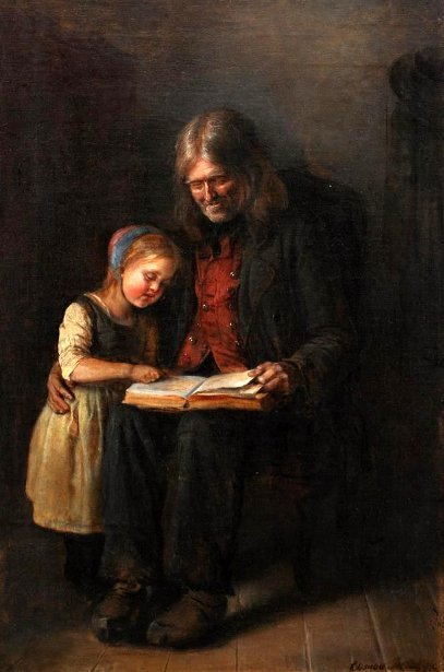 Interior With An Elderly Man Who Reads Aloud To A Girl