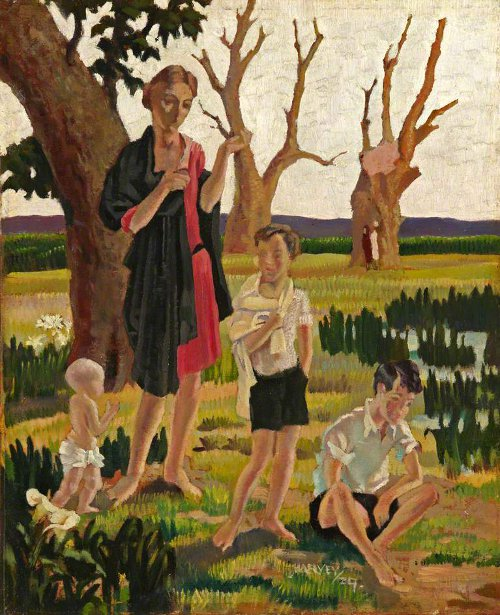 A Mother And Three Children In A Landscape