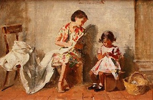 A Mother Sewing With Her Child