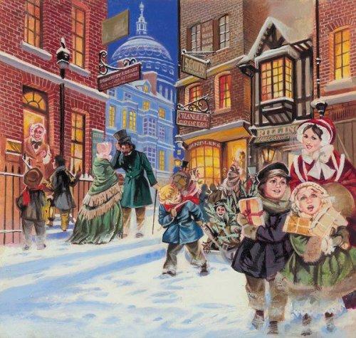 Angus McBride - Dickensian Christmas Scene