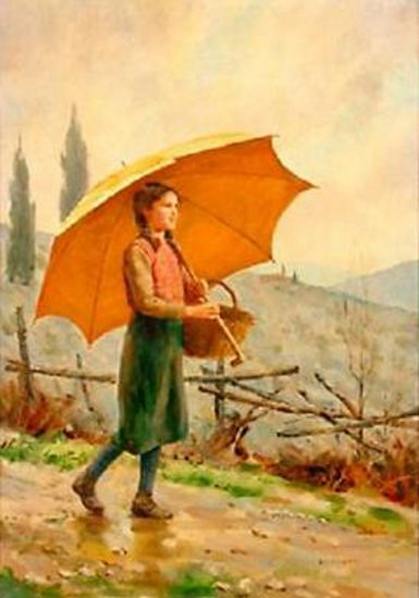 Young Girl With Open Umbrella