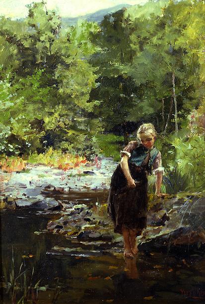 لوحات تشكيليه للفنان العالمي Henry John Yeend-King Crossing-the-stream