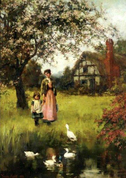 لوحات تشكيليه للفنان العالمي Henry John Yeend-King Mother-and-child-in-a-landscape-with-cottage-and-duckpond