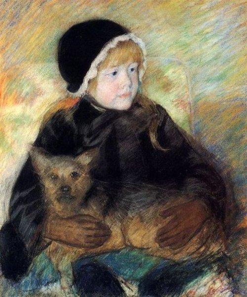 Elsie Cassatt Holding A Big Dog