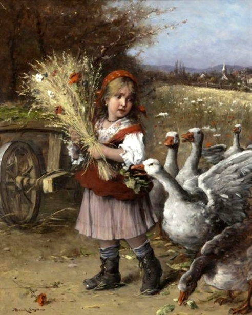 Village Girl With Geese