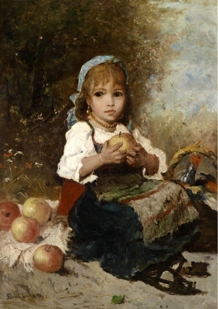 Young Peasant Girl With Apples