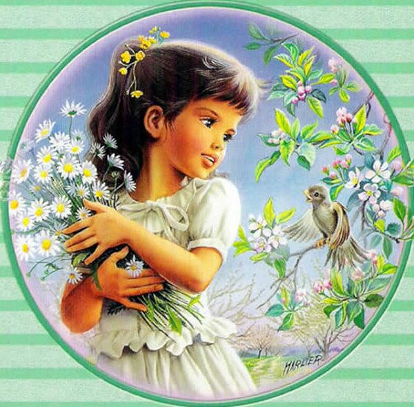 Открытка, гифы ребенок цветы