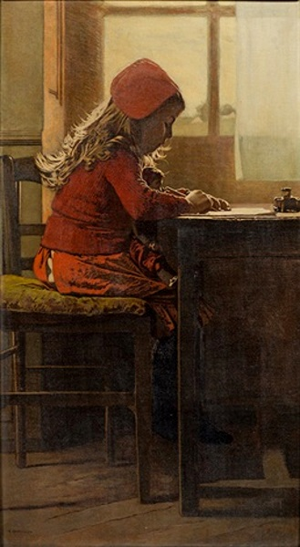 dutch-girl-at-writing-desk