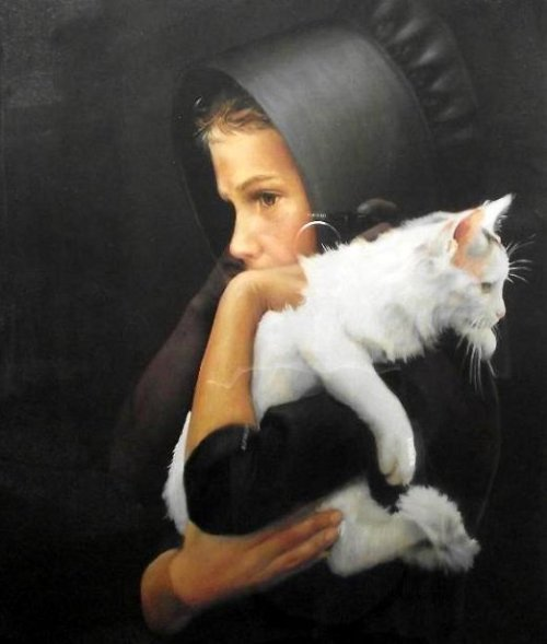 Amish Girl Holding White Cat