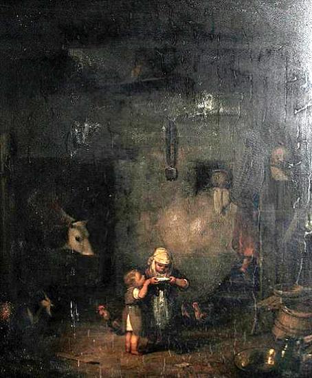 لوحات تشكيليه للفنان العالمي Ignaz Raffalt A-barn-interior-with-children