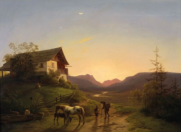 لوحات تشكيليه للفنان العالمي Ignaz Raffalt An-open-landscape-with-horses-in-the-evening-light